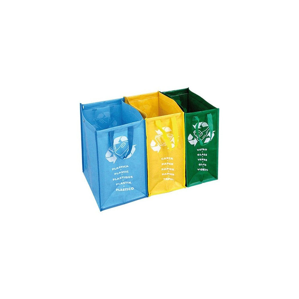 Borse colorate 004620 per raccolta differenziata SET 3 Pz autoportanti armadio