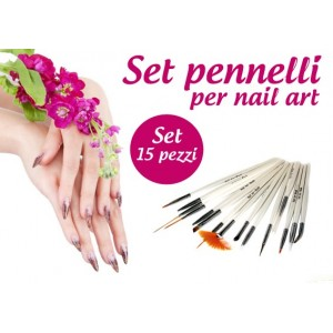 Image of Set 15 pennelli nail art ricostruzione unghie 8435524506493