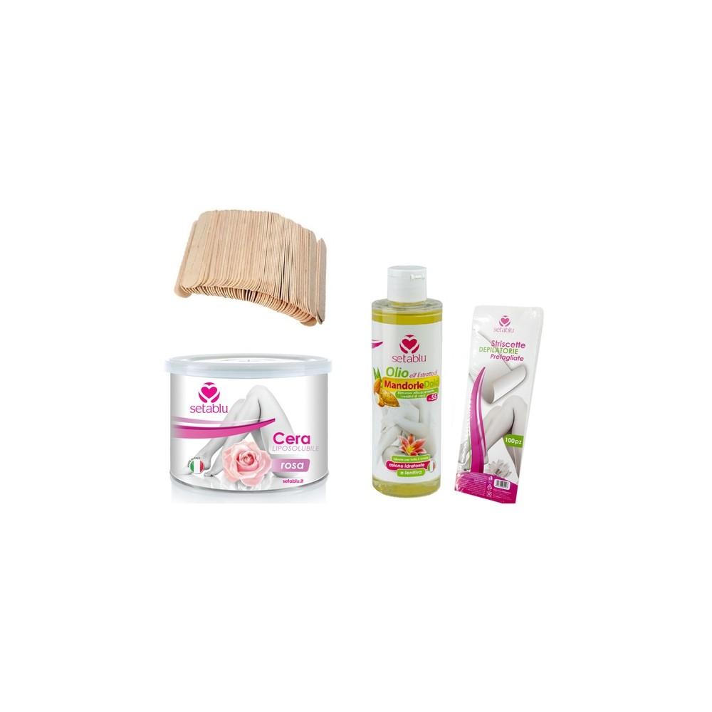 Kit SETABLU cera pelli sensibili, olio di mandorle,spatole e strisce depilatorie