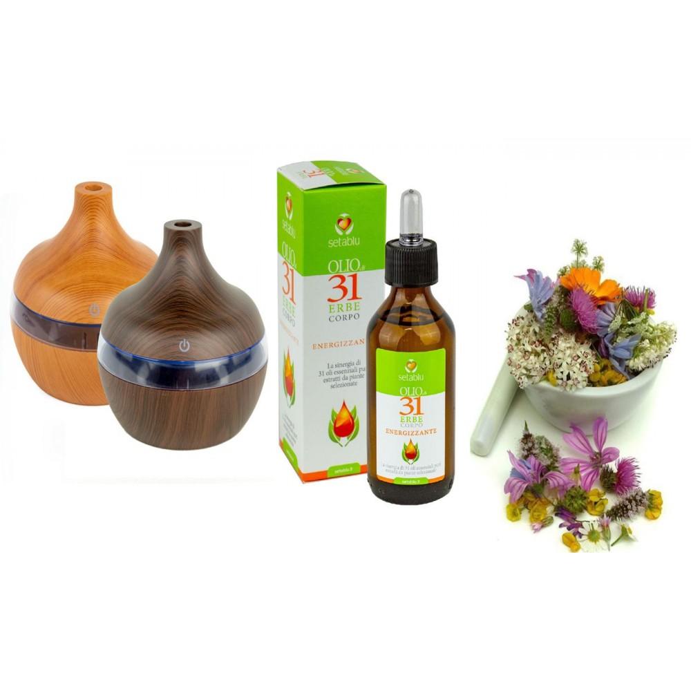 Diffusore aromateraputico Setablu da 300 ml con Olio agli estratti alle 31 erbe
