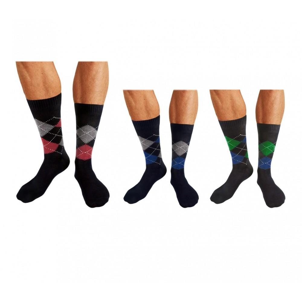 Pack di 6 o 12 paia di calze in filo di scozia con fantasia argyle da uomo british style in vari colori