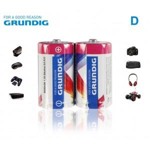 2x Grundig alcaline torce formato D LR20 1.5V 6000 mAh confezione da 2 batterie