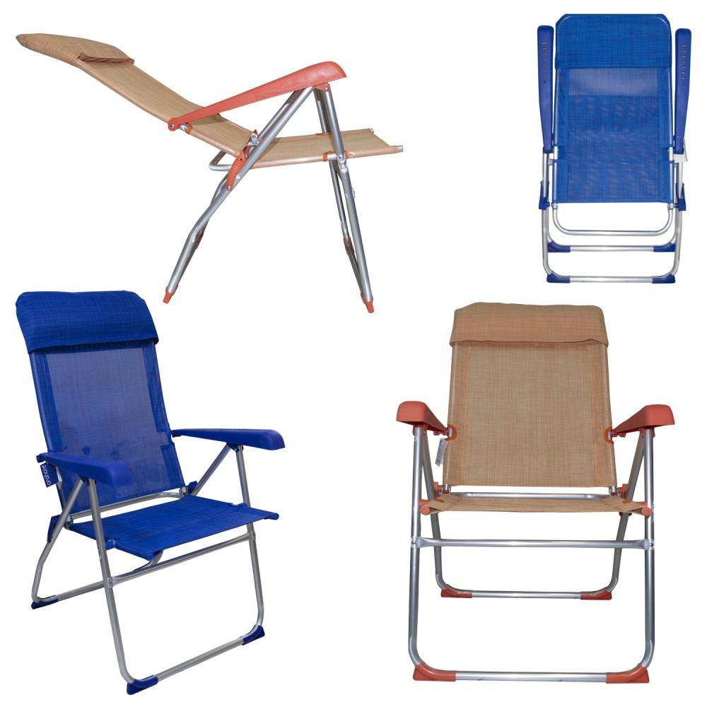 Sedia sdraio 379530 reclinabile 8 posizioni con braccioli tubo 22mm alluminio