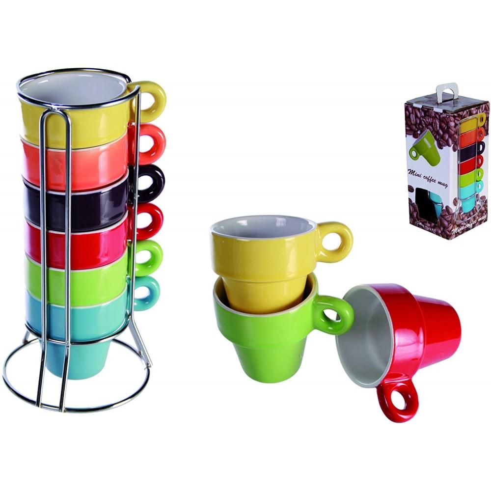 Mini Coffee Mug 788086 Set di 6 tazzine colorate per caffe' con stand  5x5 cm