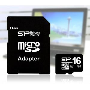 Scheda di memoria SILICON POWER microsd card 16 GB con adattatore SD di tipo SDHC Classe 4