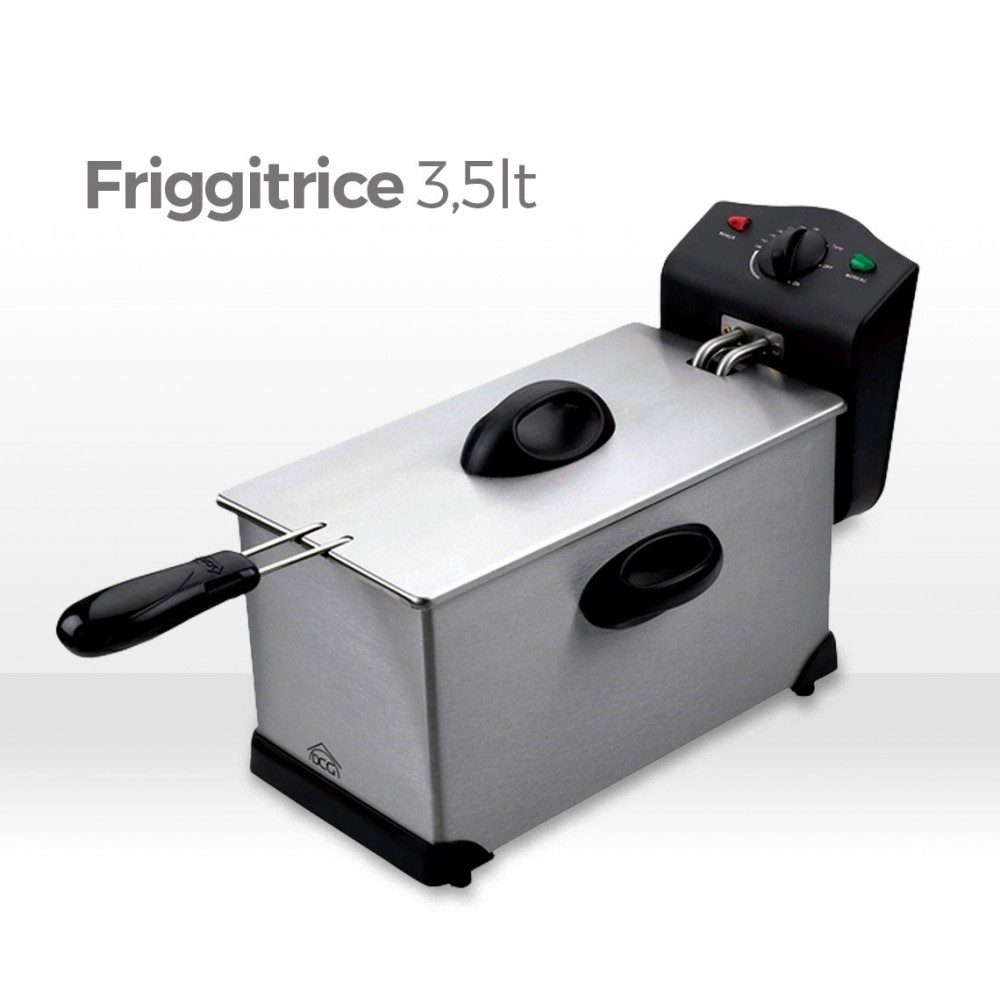 Friggitrice 3,5 lt DCG FR2759 con termostato regolabile e pentola antiaderente removibile