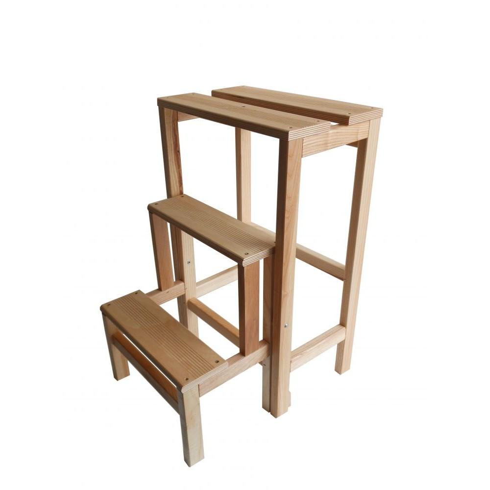 Sgabello scala ripieghevole art 264 ribalta in legno 3 gradini 37 x 23 x h60 cm