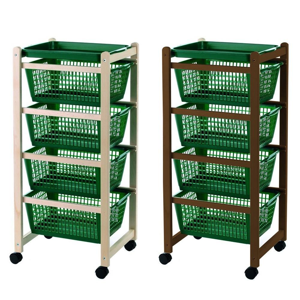 Carrello cucina 922-152 vassoi estraibili 4 cesti plastica 4 ruote 36x30xh82 cm