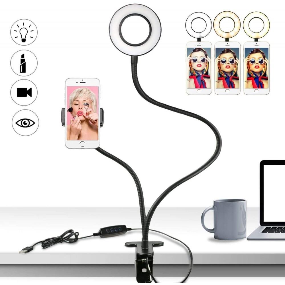 Set selfie 2 in 1 porta telefono e lampada 187103 da tavolo regolazione luce