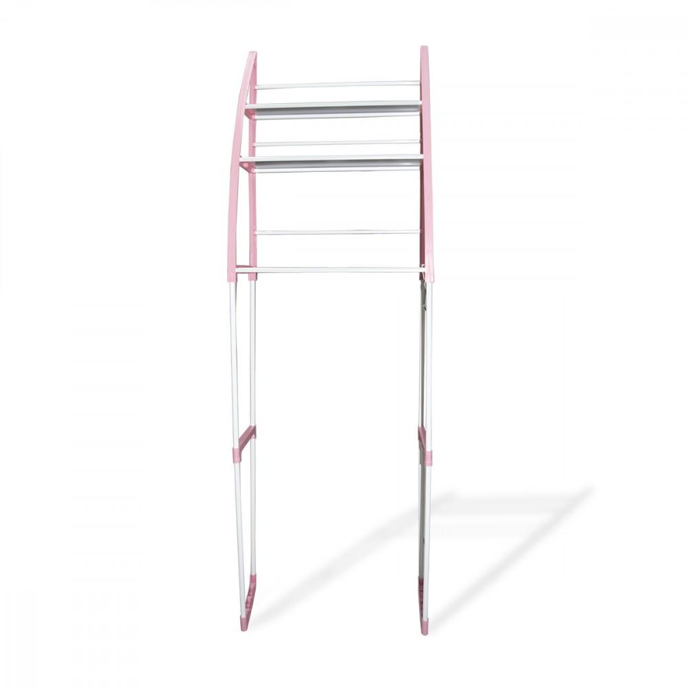 Scaffale da bagno 3 mensole 48x23x153h cm 360047 bianco e rosa wc