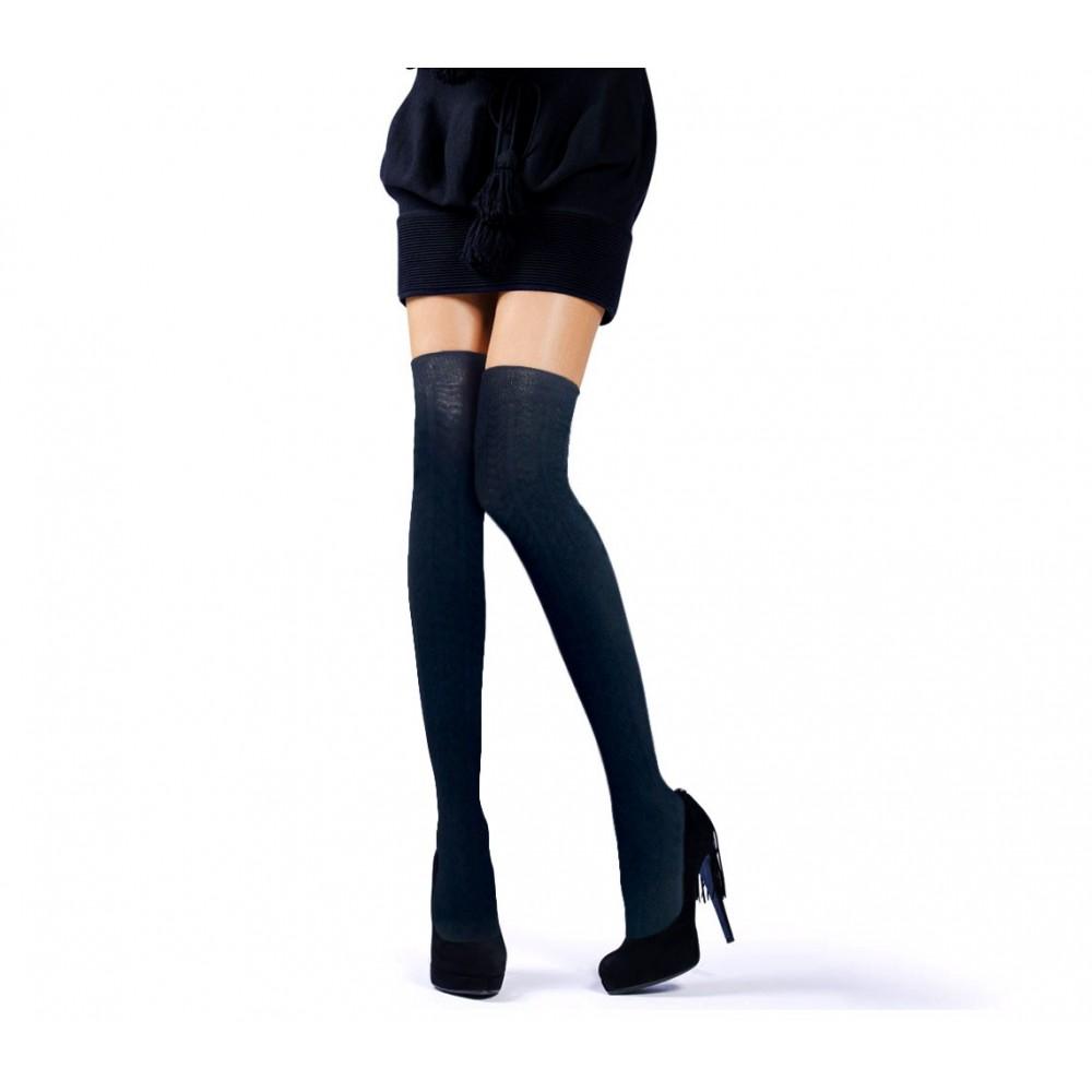 Calze parigine overknee in taglia unica e colori misti collant altezza ginocchio fantasia tono su tono
