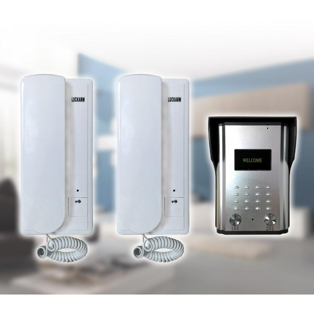 Citofono bifamiliare intercom doorbell cablaggio a 4 fili con 2 unità esterne d 1 interna