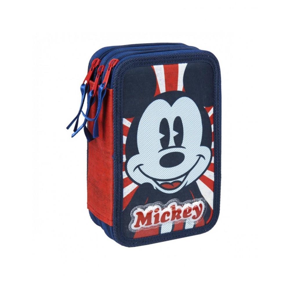 Astuccio portapastelli Mickey Mouse e giotto 21-2487 con 3 cerniere blu