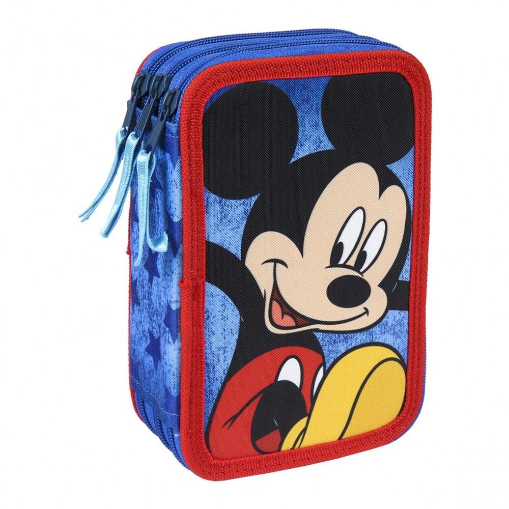 Astuccio porta pastelli Mickey Mouse e giotto 21-2499 con 3 cerniere blu