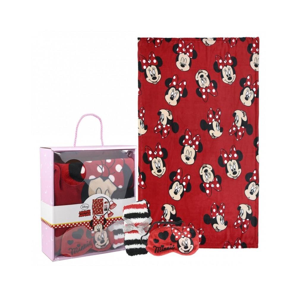 Box regalo 22-3378 Coperta in caldo pile, benda per dormire e calze MINNIE