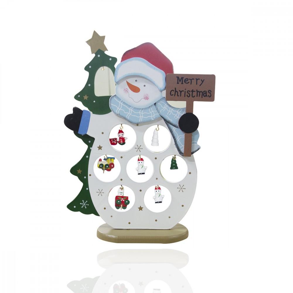 Addobbo natalizio pupazzo di neve 11 accessori montabili base in legno 743573