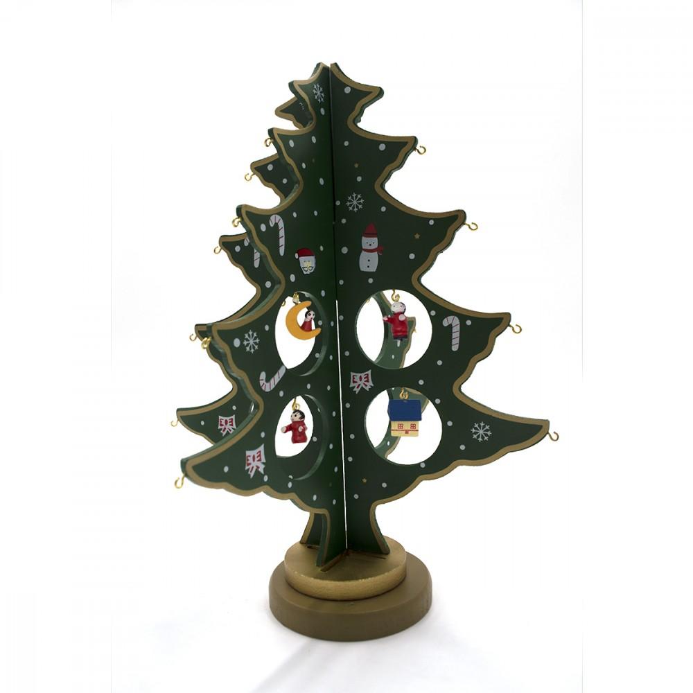 Addobbo natalizio 743535 albero di natale 29 cm con 20 accessori base in legno