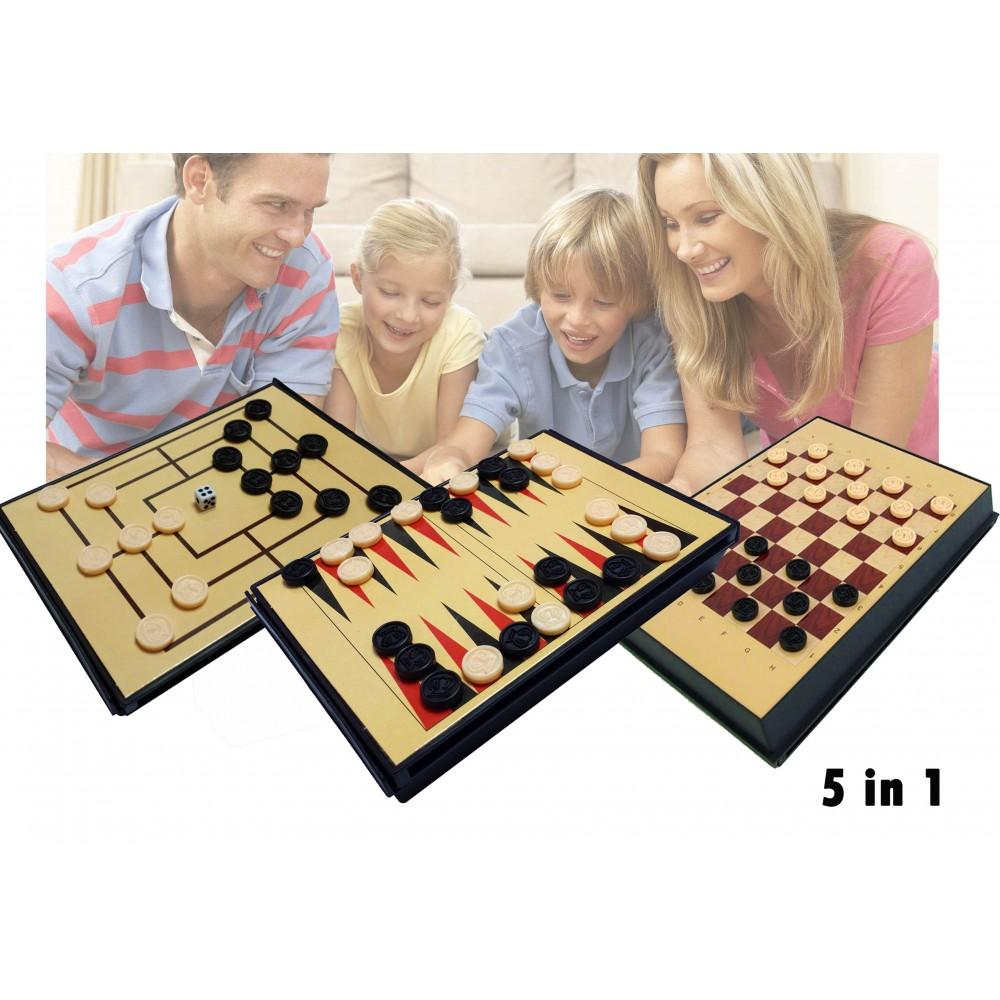 Set di 5 giochi in 1 da tavolo scacchi dama backgammon e filetto