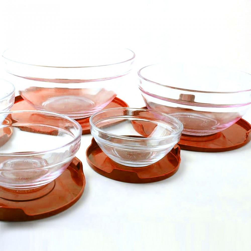 Set 5 contenitori in vetro impilabili ciotole cooking bowl per microonde Rosso