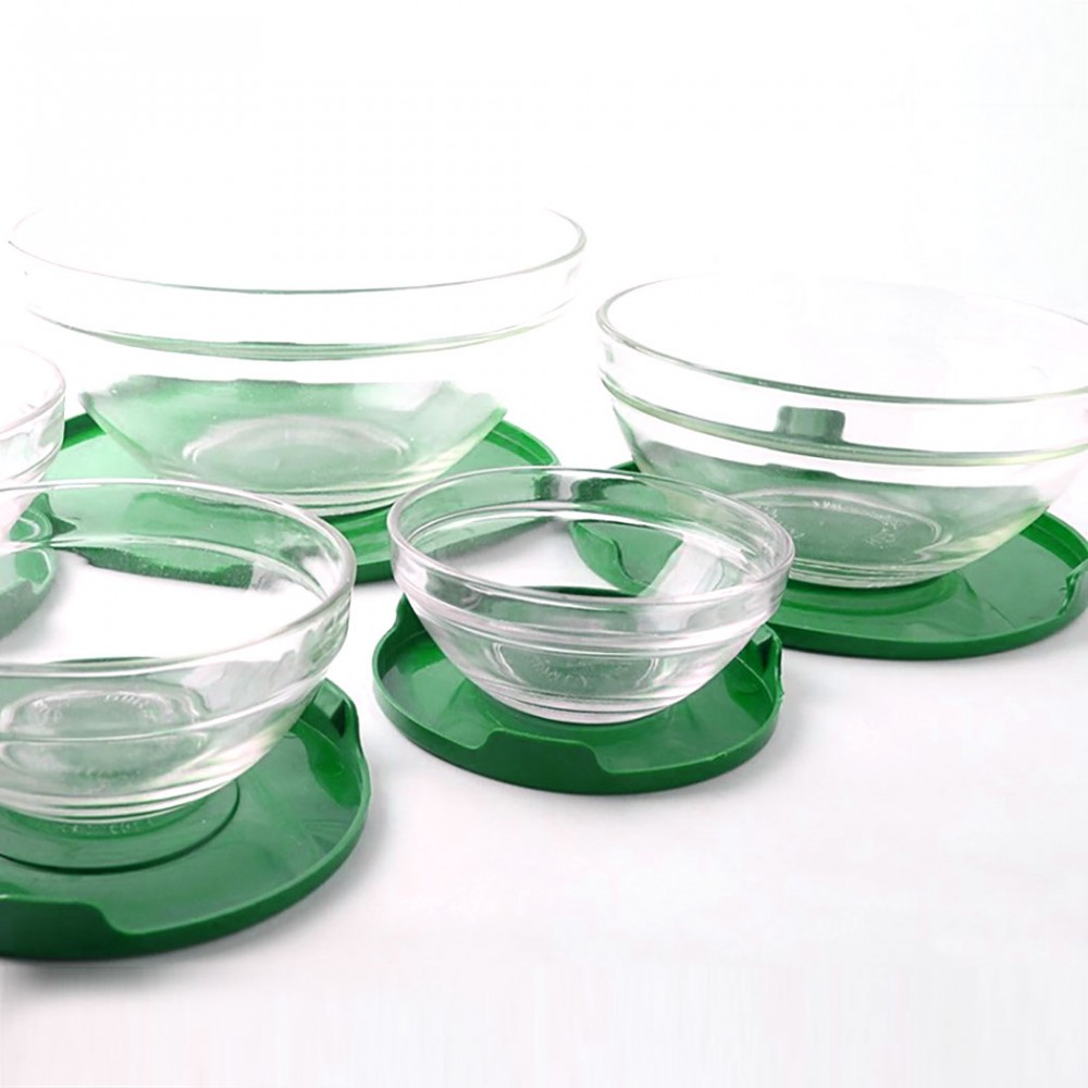 Set 5 contenitori in vetro impilabili ciotole cooking bowl per microonde Verde