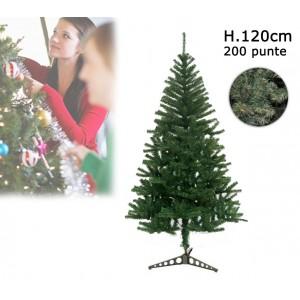 Albero di Natale artificiale 120 cm con 200 punte rami folti e foglie realistiche