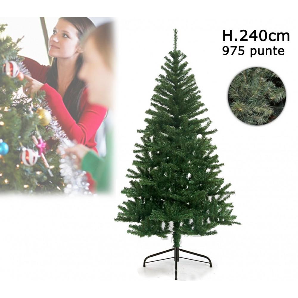Albero di Natale artificiale 240 cm con 975 punte rami folti PINO DELLE SORPRESE