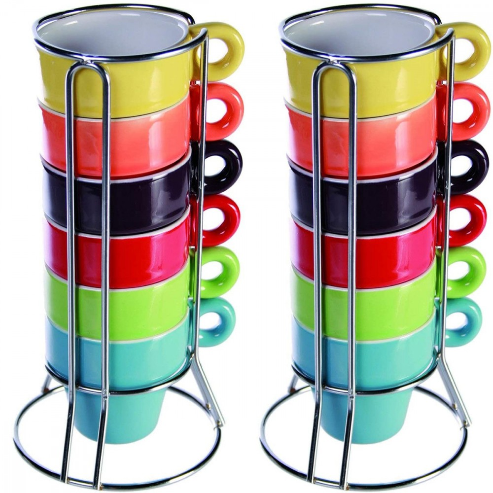 Mini Coffee Mug 788086 Set da 12 tazzine colorate per caffe' con stand 5x5 cm