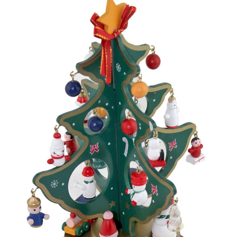 Addobbo natalizio 740190 carillon albero di natale base in legno 25x20 cm