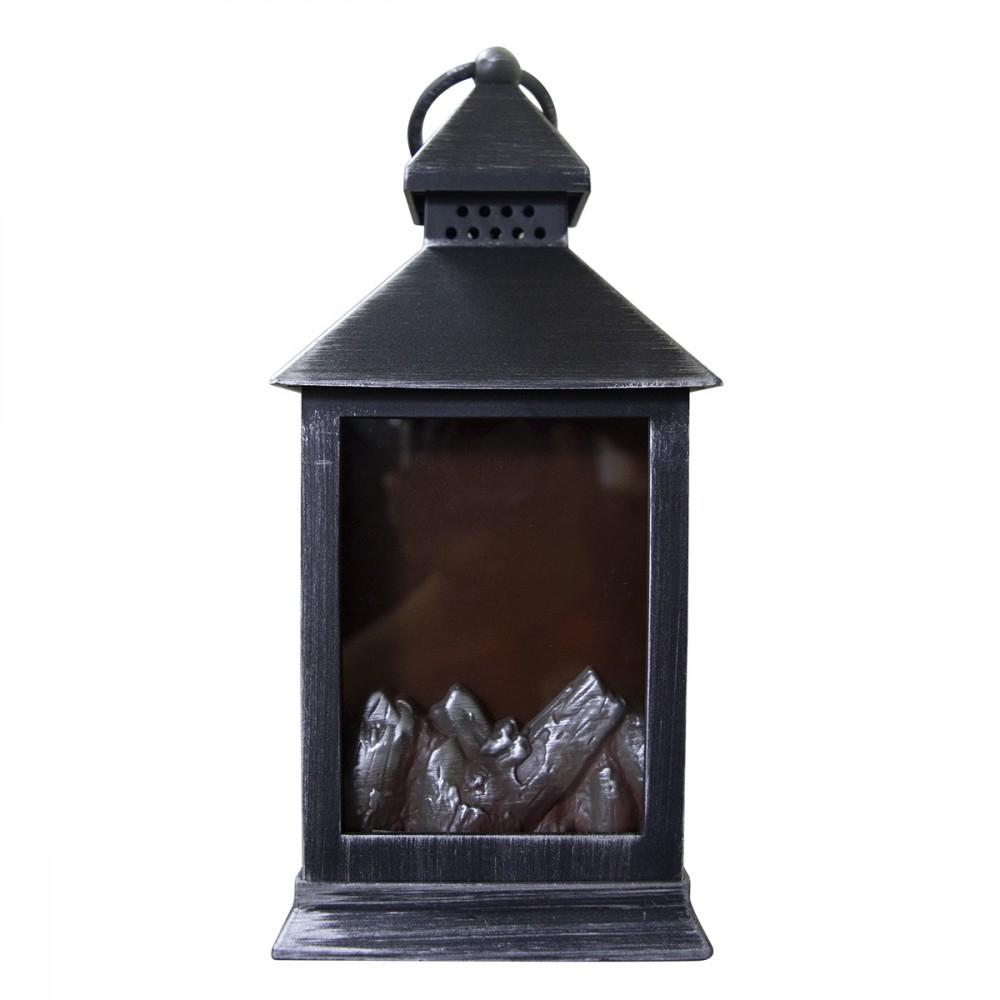 Lanterna con fuoco finto led 11x10x25h cm 944666 color argento antichizzato
