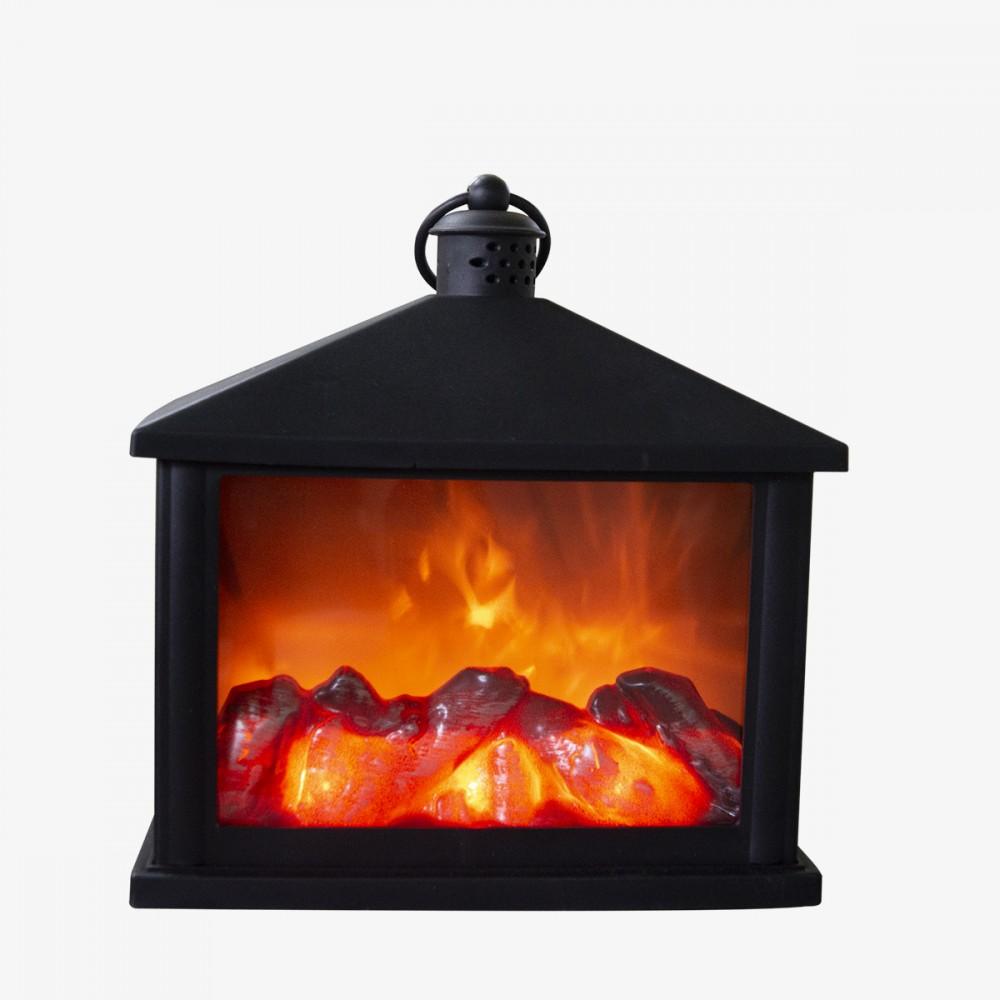 Lanterna con fuoco finto 994852 caminetto led 20x9x20h cm color nero