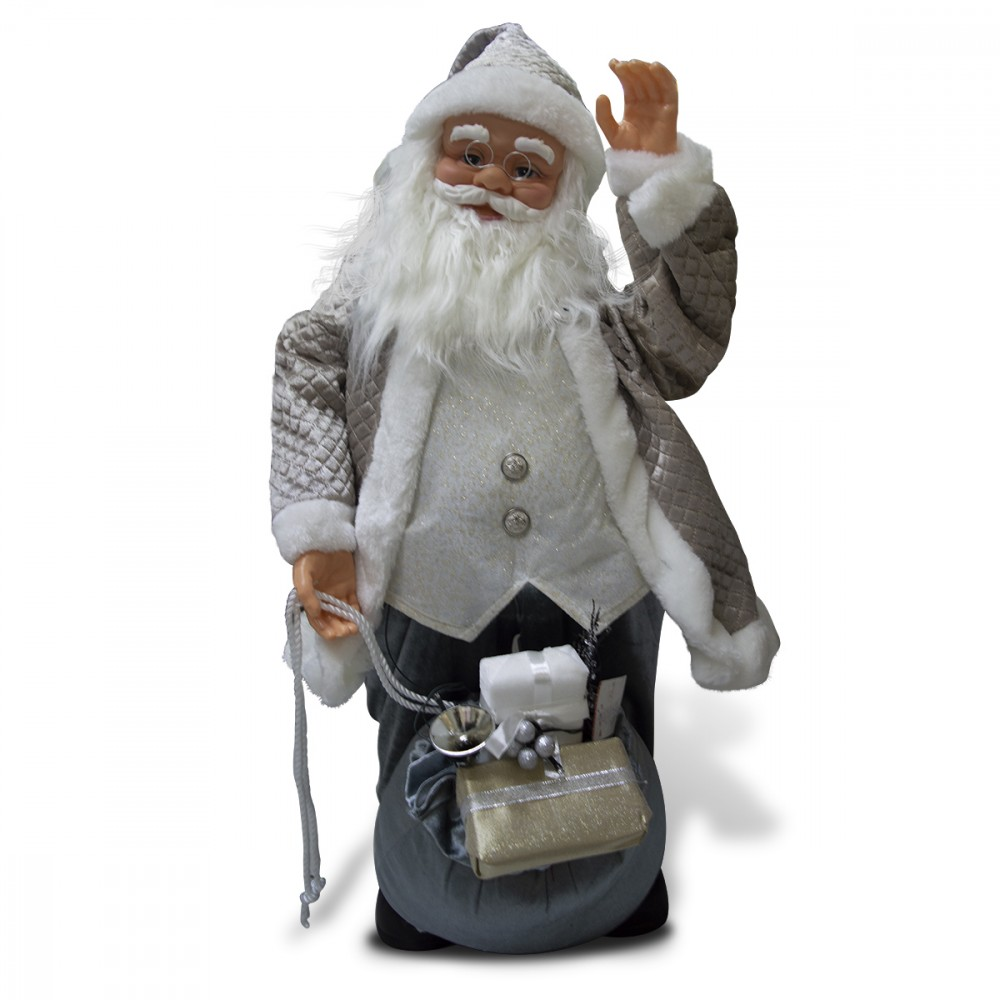 Babbo Natale champagne 80 cm 900881 decorazione con musica, luci e movimento