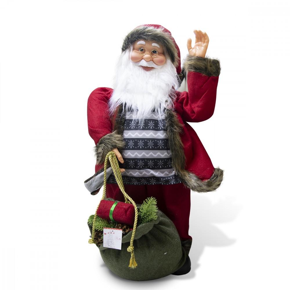 Babbo Natale Rosso e grigio 80 cm 900669 decorazione con musica luci e movimento