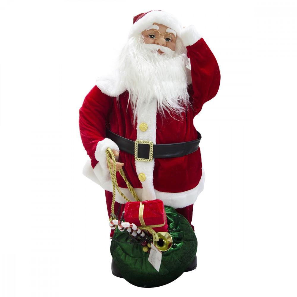 Babbo Natale decorazione con sacco regali 80 cm 900652 musica luci e movimento