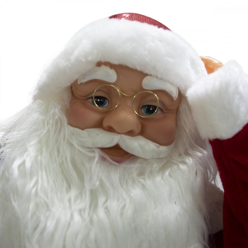Babbo Natale Musicale.Babbo Natale Decorazione Musica Luci E Movimento 80 Cm Con Sacco Regali 900652