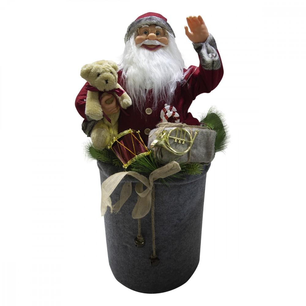 Babbo Natale rosso grigio decorazione sacco 80cm 900638 musica luci movimento