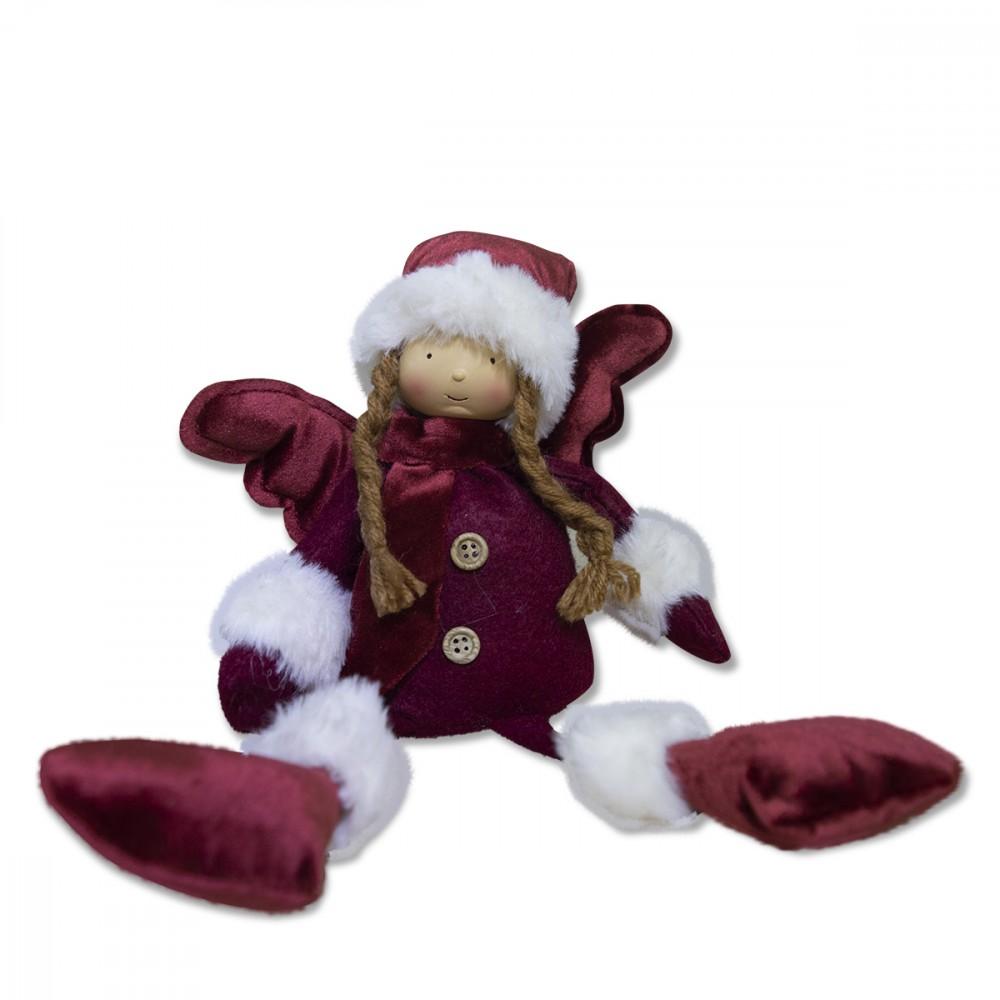 Fatina seduta rossa di Natale 305097 decorazione con luce 25x12x8 cm