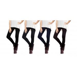 Set 4 leggings fantasia Ethnic donna effetto termico interno felpato elasticizzato collant winter fuseaux