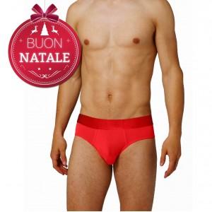 Slip Uomo rosso natalizio in cotone con elastico in vita e doppia fodera interna