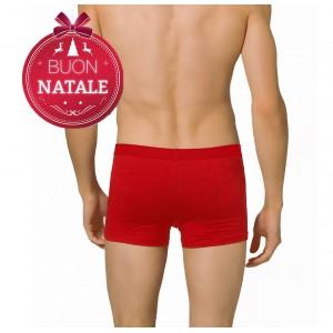 Boxer Uomo rosso natalizio in cotone con elastico in vita e doppia fodera interna