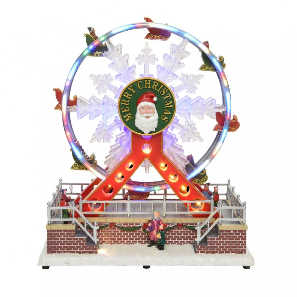 Giostra natalizia Ruota panoramica 367003 con musica, luci e movimento 29x31 cm
