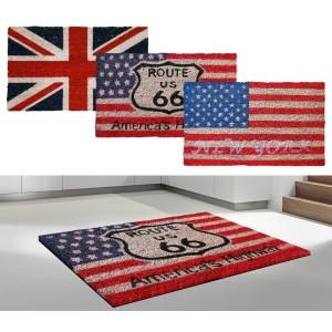 Zerbino di design in fibra di cocco con bandiera inglese o americana con base in gomma antiscivolo