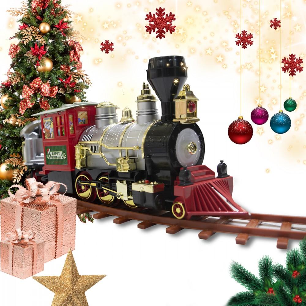 Treno per albero di Natale a batteria 258108 con luci e suoni 36 pezzi 80x19 cm
