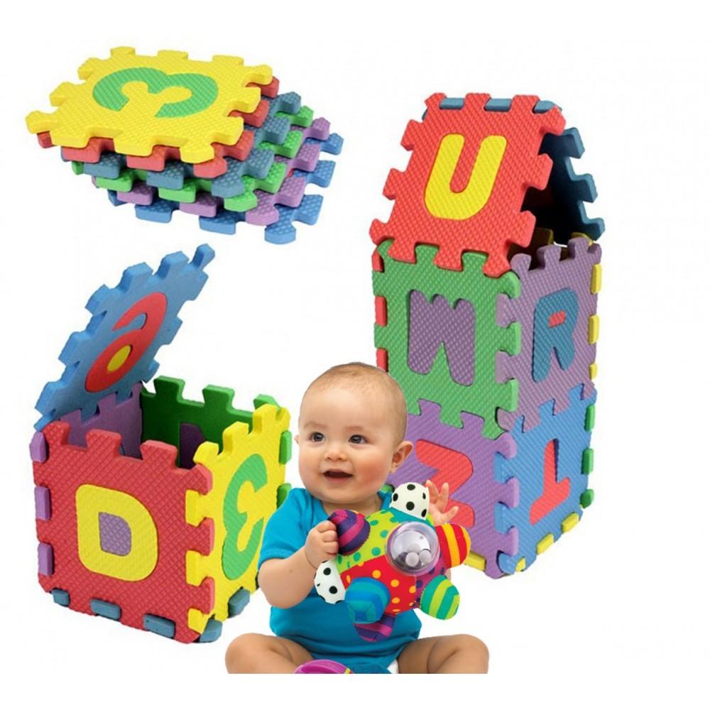 Tappeto puzzle lettere e numeri 36 pz gioco didattico UN MONDO DI GIOCHI