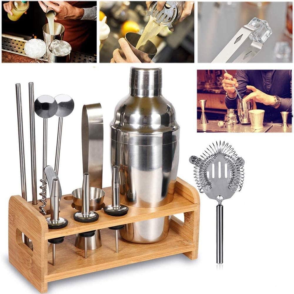Kit 12 + 1 pezzi da Barman TMX12 con Base di legno e Guida per cocktail acciaio