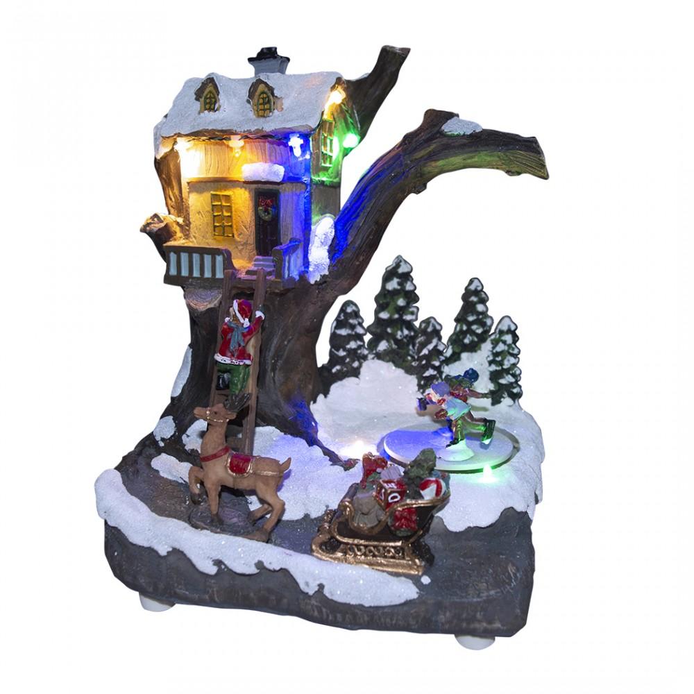 Villaggio natalizio decorazione CASA 361008 con movimento luci musica 19x16x22cm