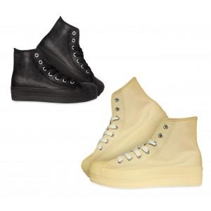 Scarpe sneakers alte modello Franky Raise da donna stringate in similpelle con plateau di 3,5 cm