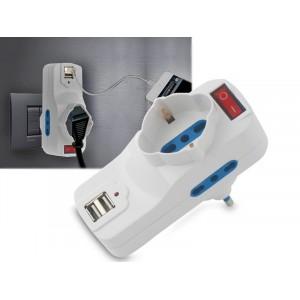 Adattatore multipresa salva spazio con 2 porte usb interruttore con spina schuko