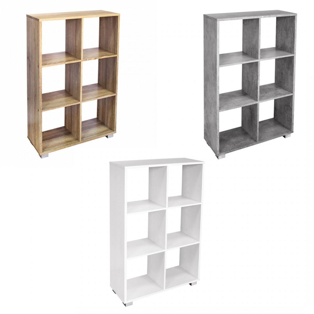 Libreria in legno KUBO a caselle con 6 ripiani dotata di piedini 60x24xH99 cm