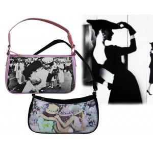 Borsa a mano handbag con stampa fotografica in due varianti in stile vintage