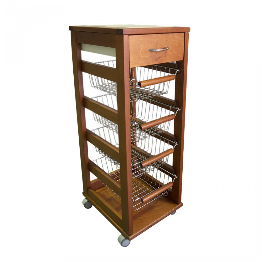 Carrello Vesuvio salvaspazio portafrutta da cucina in legno faggio 380519